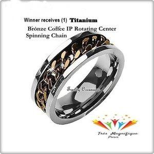 Jewelry - Titanium Rotating Bronze Coffee IP Spinner Ring